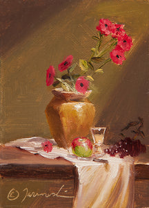 "Mini-Flores Rojas 4""x5"" Oil on Canvas (Unframed)"