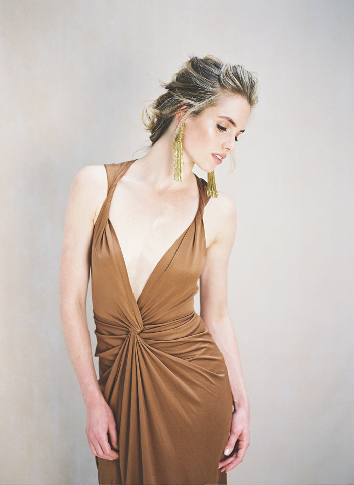Mocha Silk and Jersey Twisted Gown