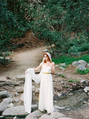 Ivory Silk Gathered Gown