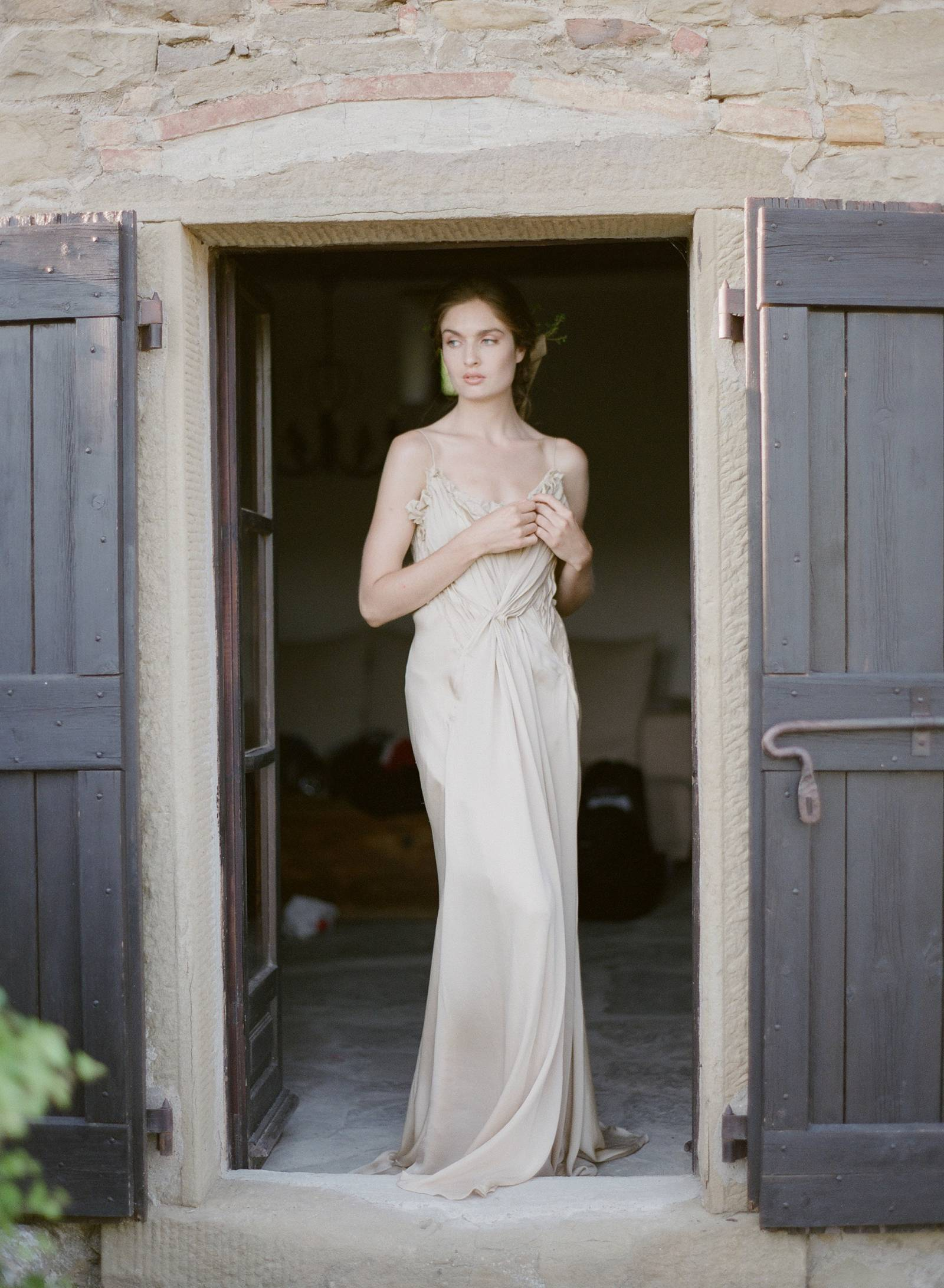 Nude Beige Grecian Silk Charmeuse Gown