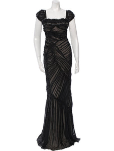 Black and Beige Pleated Gown