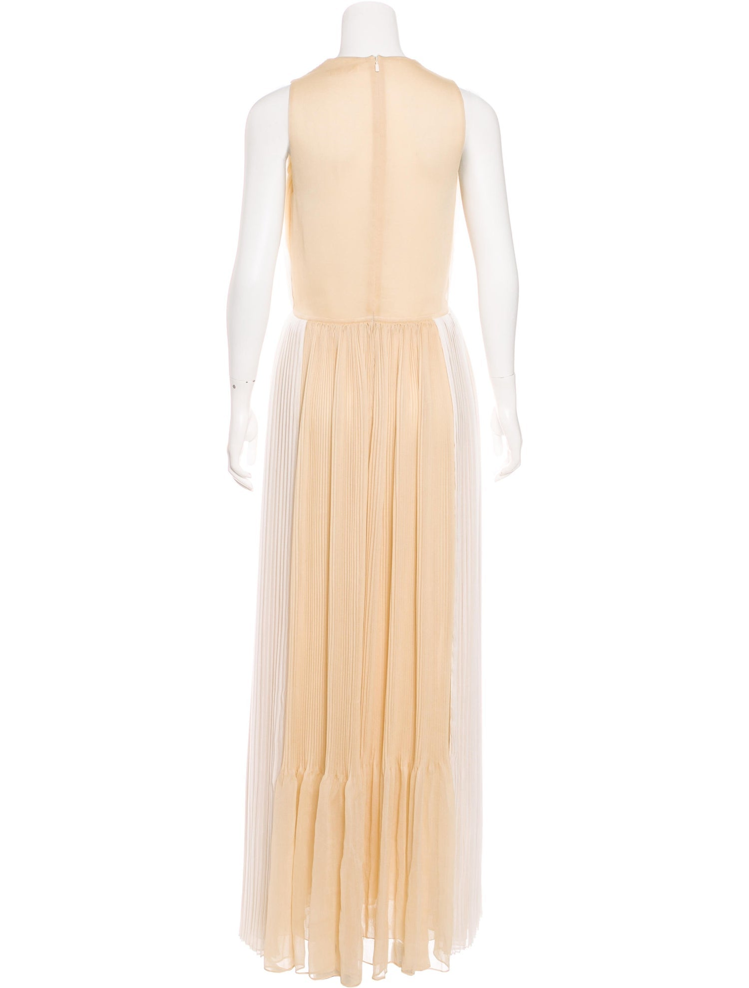 Ivory and Wheat Silk Pleated Gown