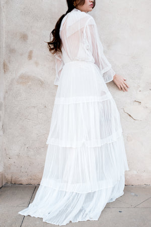 Pleated Tulle Gown