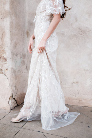 Beaded Off the Shoulder Gown