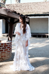 Angel Sleeves Floral Applique Gown
