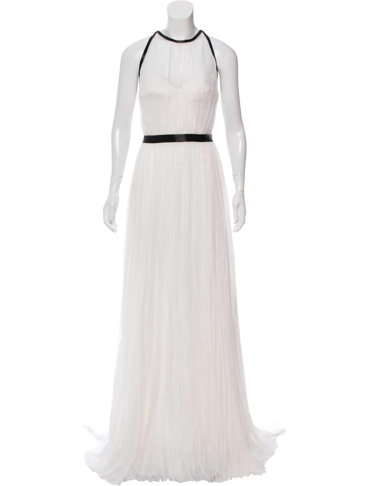 White and Black Beaded Border Gown
