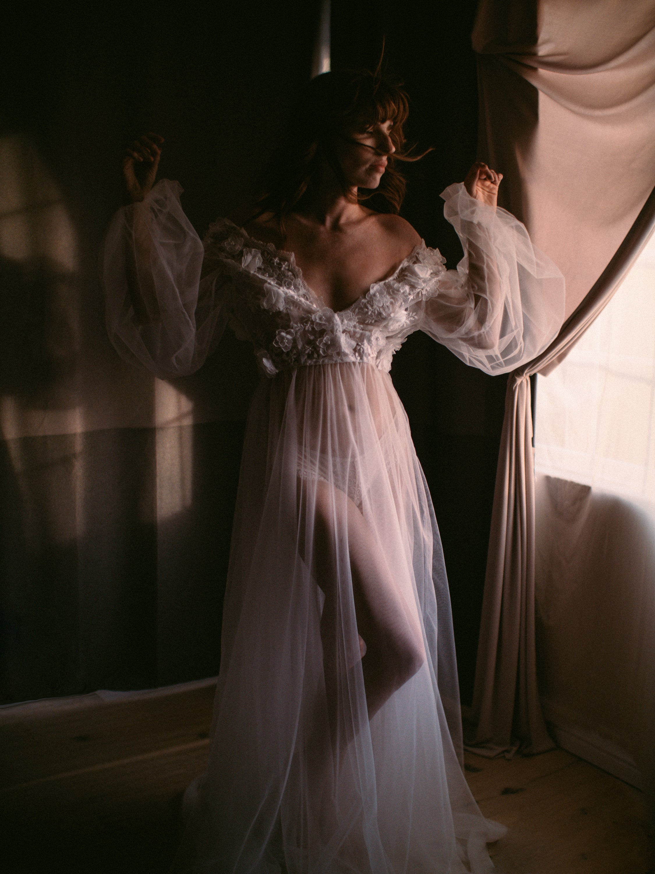Puff Sleeve Sheer Gown