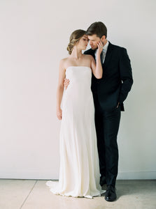 Crepe Modern Strapless Gown