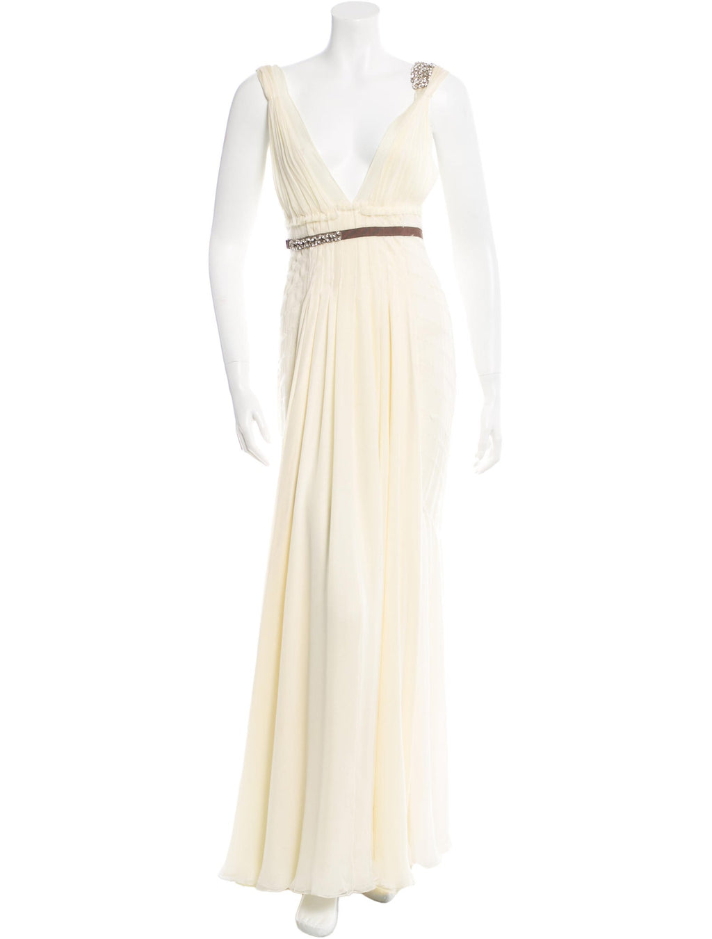 Buttercream Silk Pleated Gown