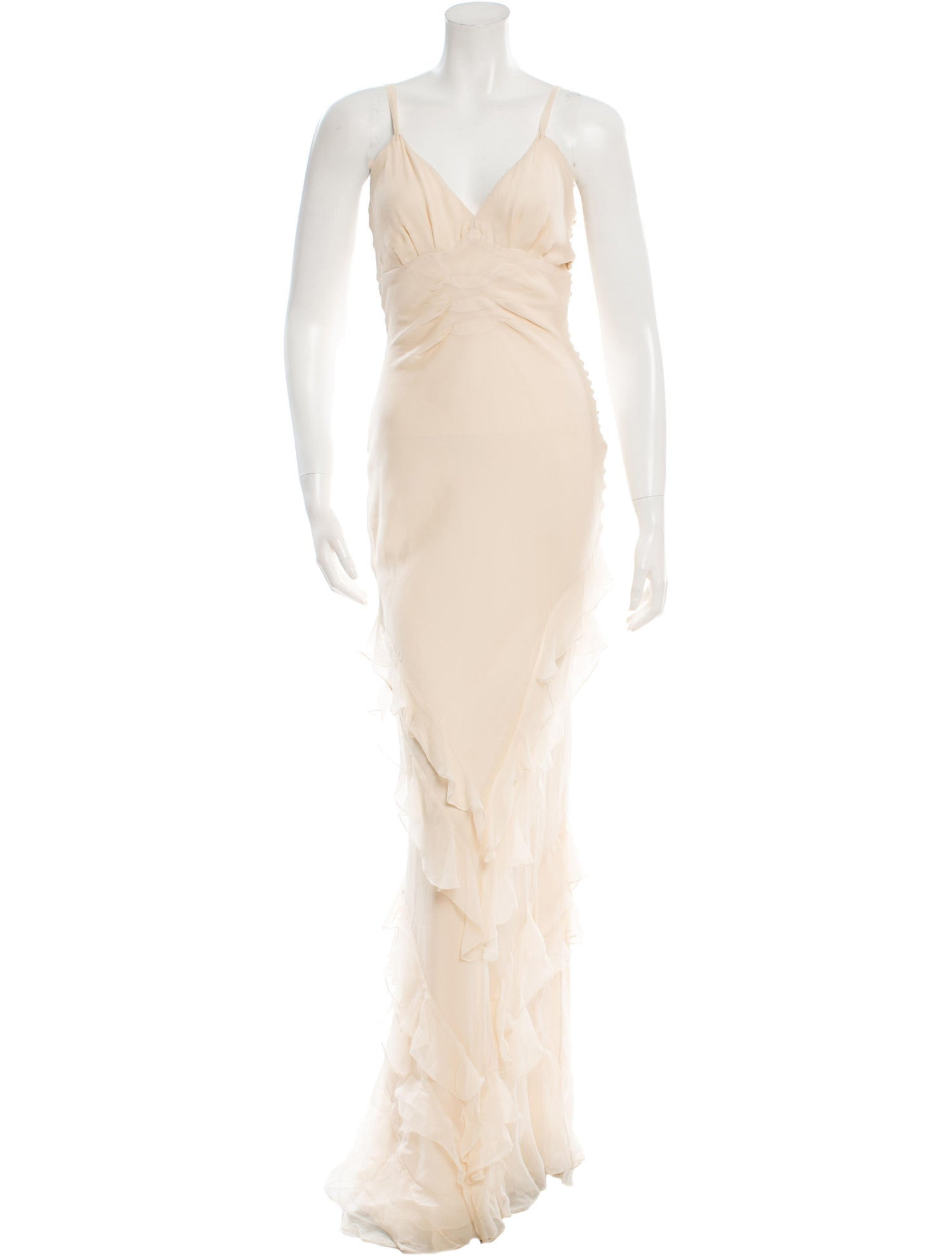 Cream Sleeveless Silk Ruffle Gown