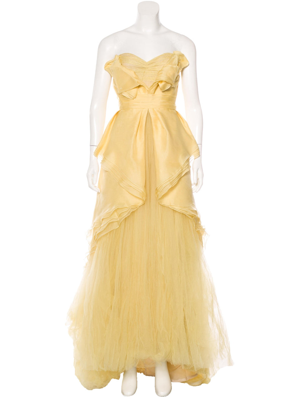 Gold Silk Organza and Tulle Gown