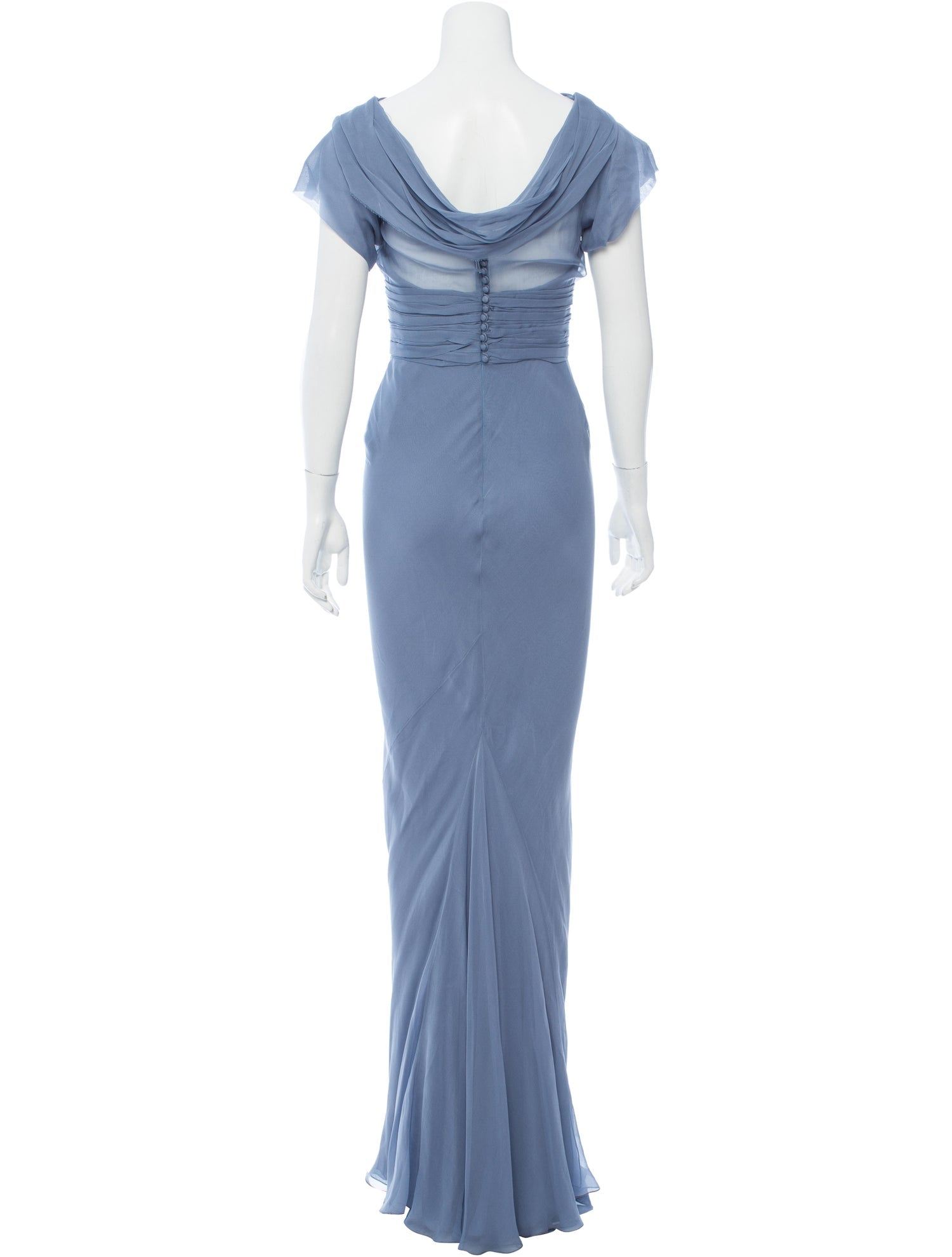 Steel Blue Silk Draped Gown