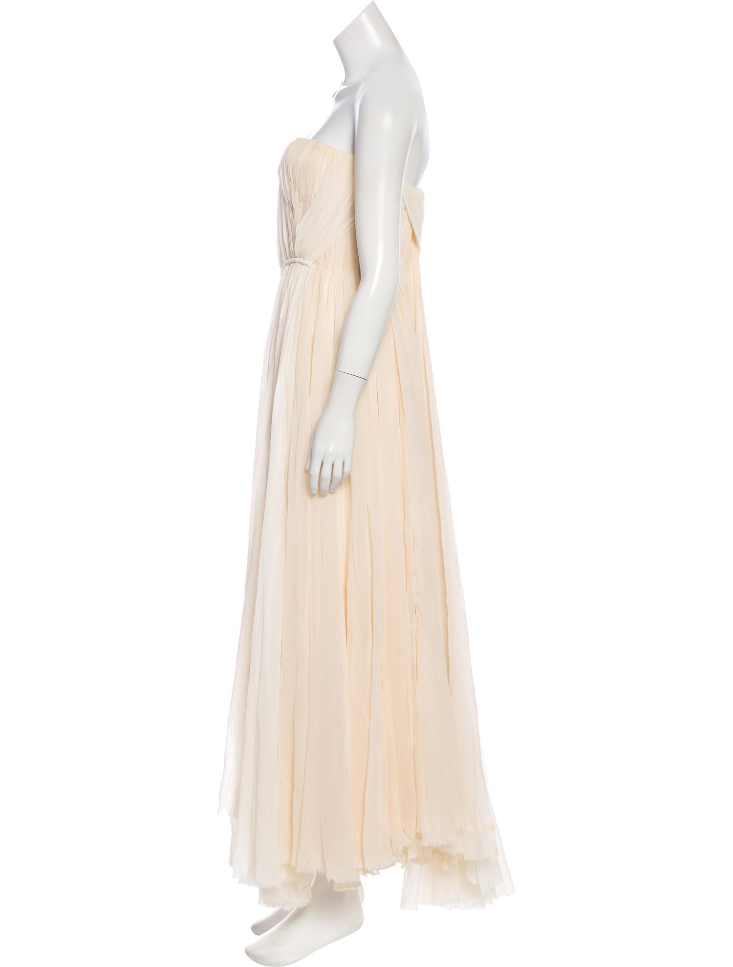 Ivory and Champagne Silk Strapless Gown