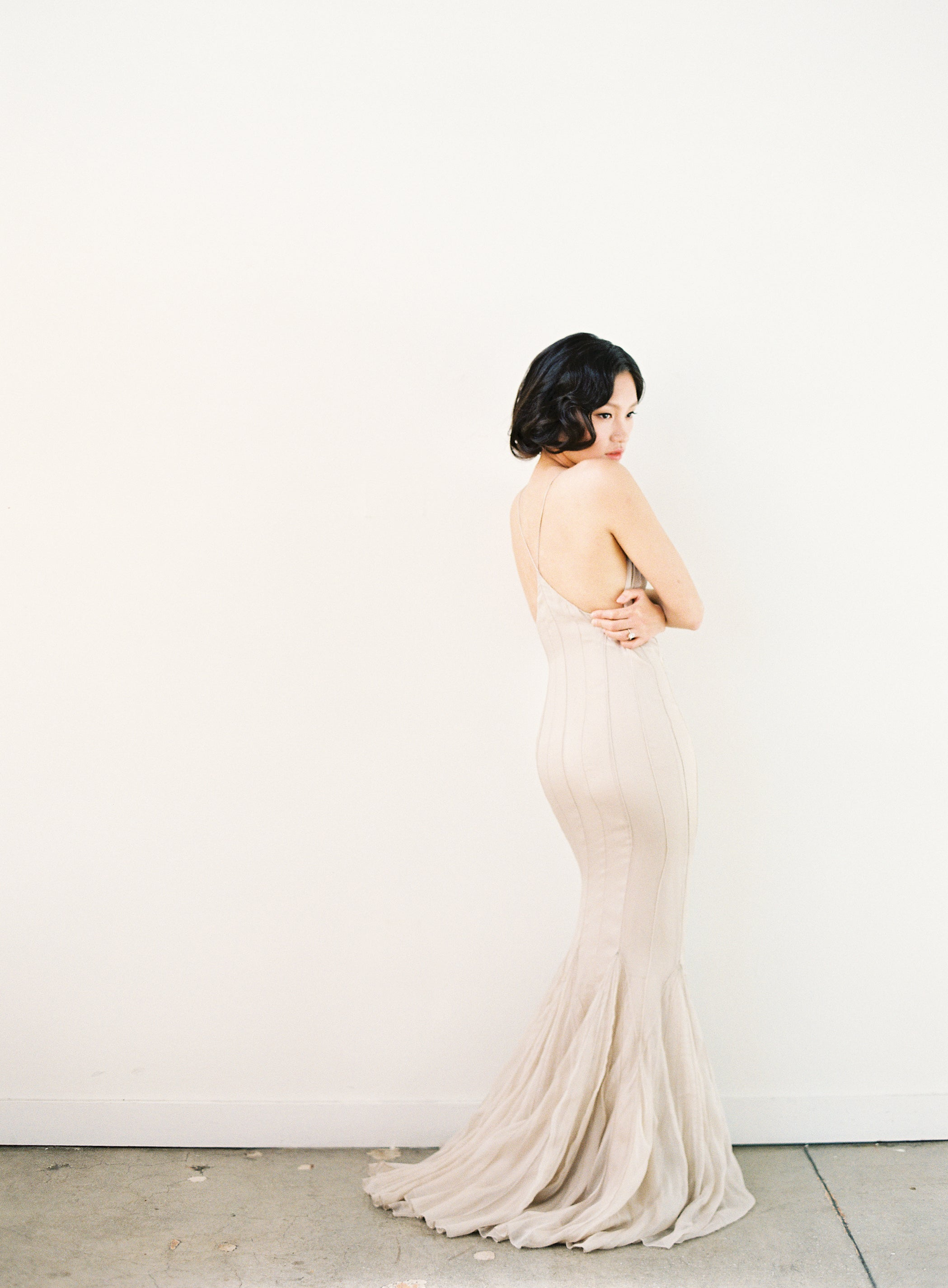 Nude Pin-Tucked Bateau Gown