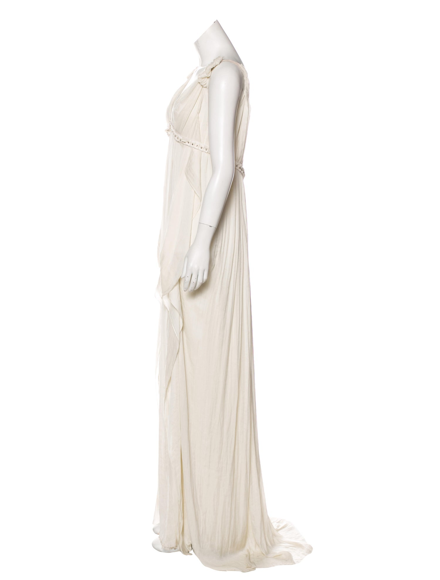 Light Grey Silk Empire Gown