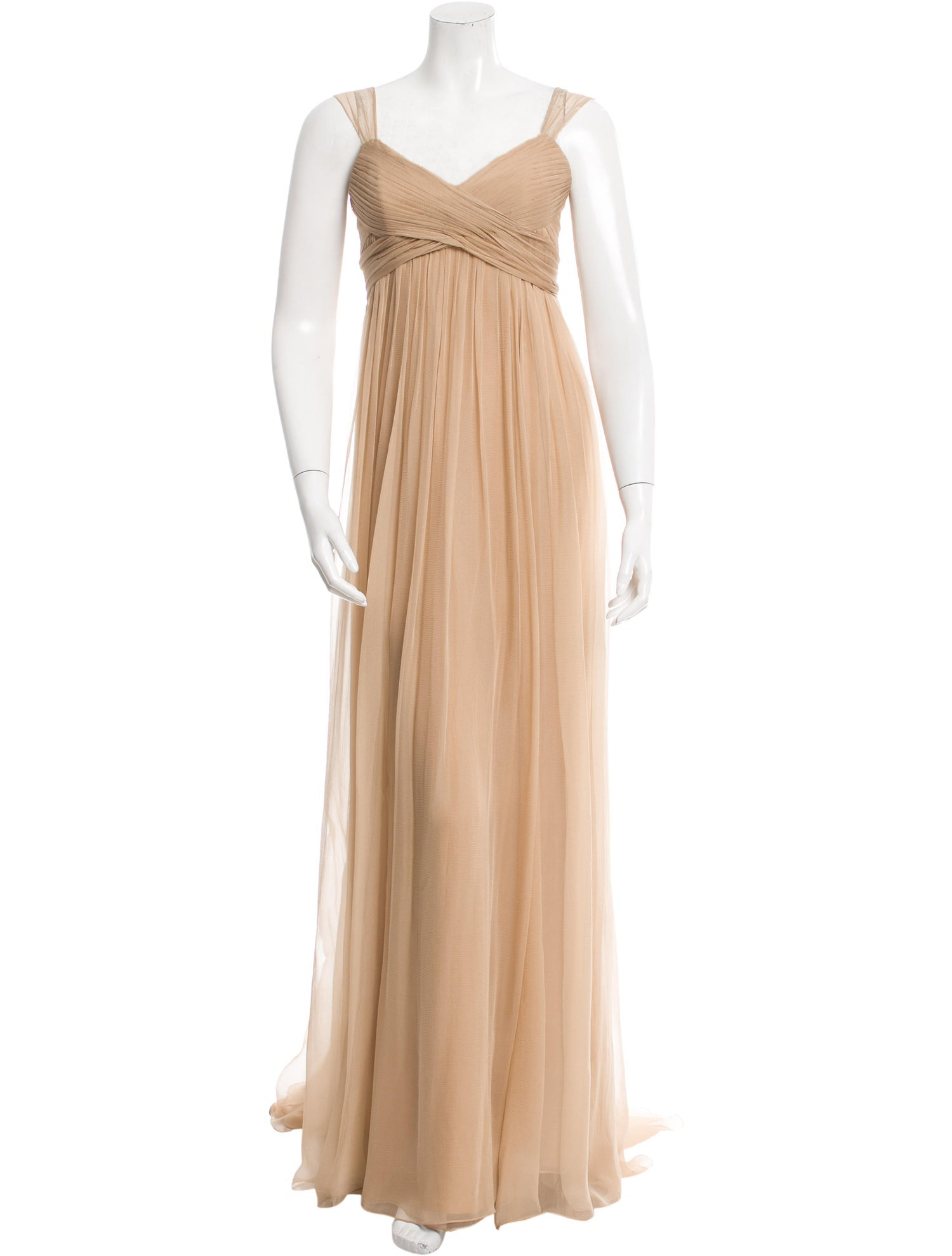 Beige Silk Draped Gown