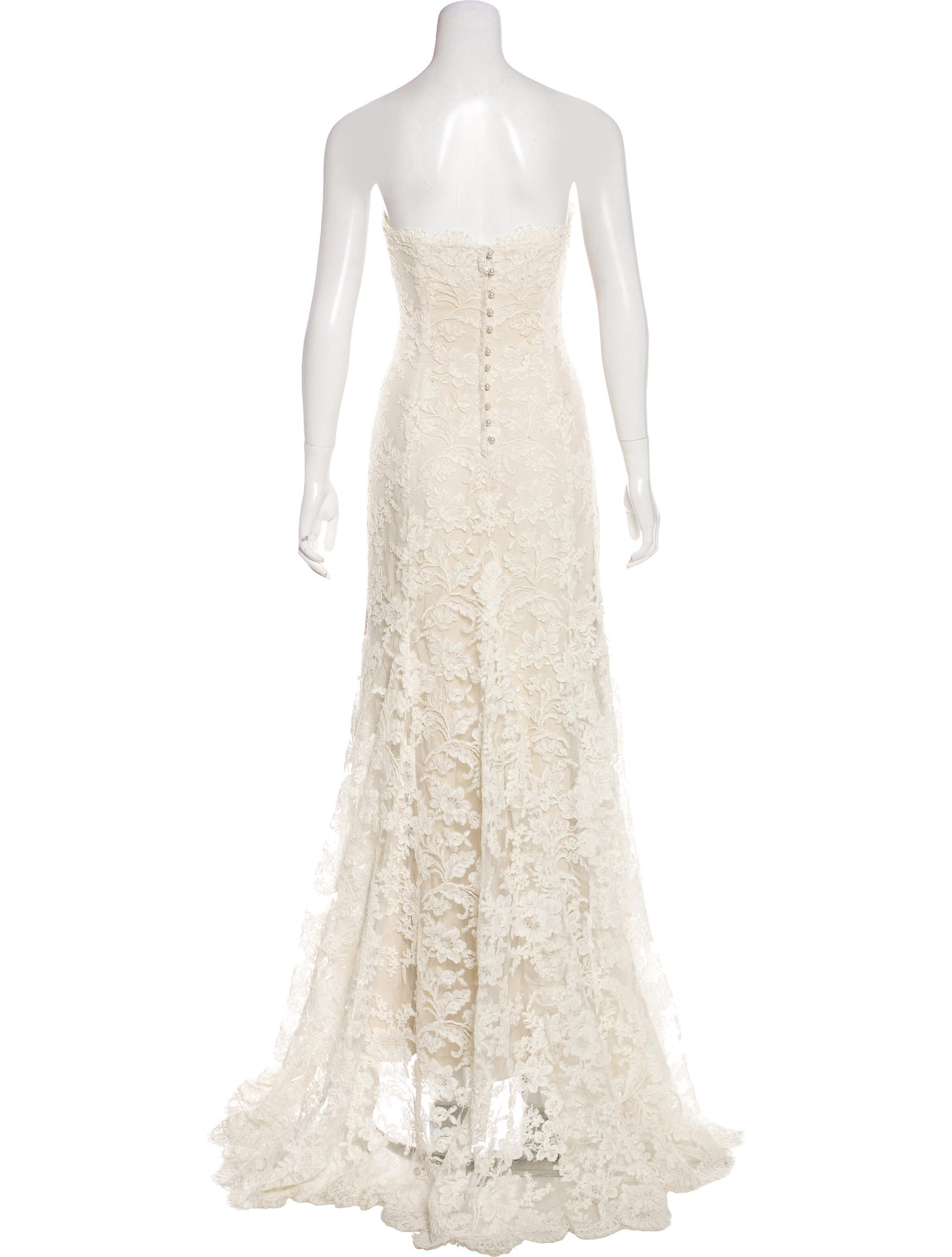 Ivory Strapless Lace Gown