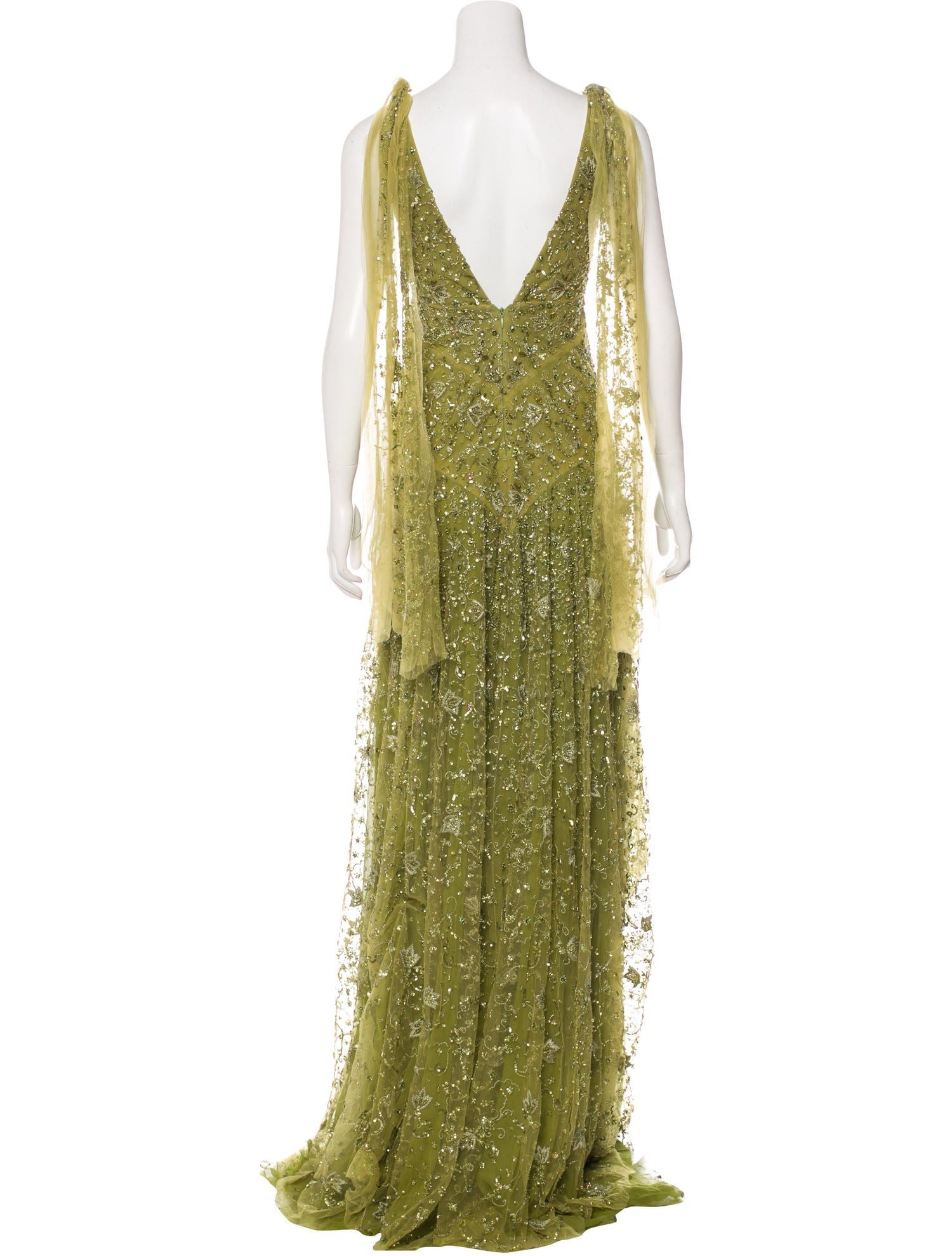 Moss Green Silk Embellished Gown