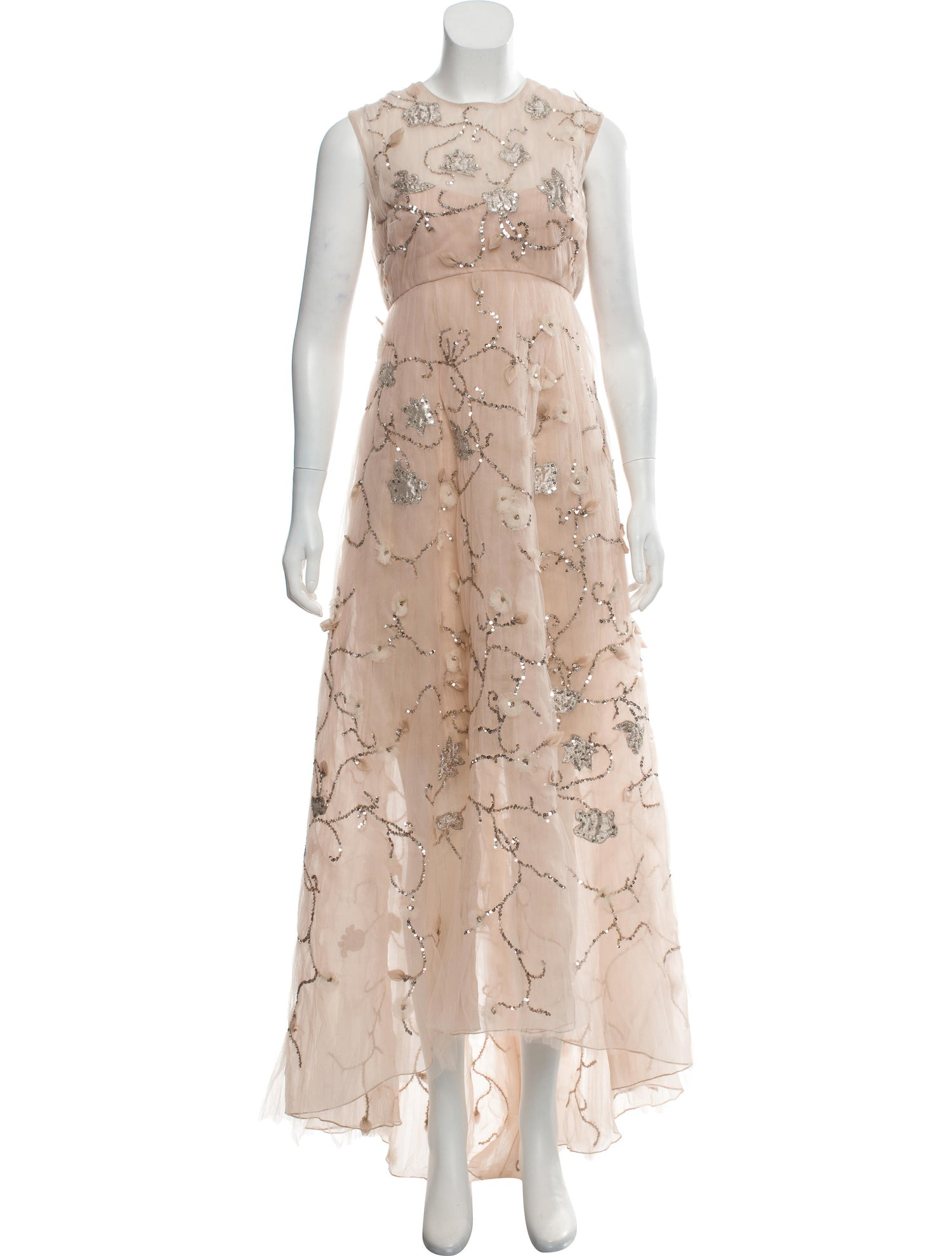 Light Peach Embellished Organza Gown