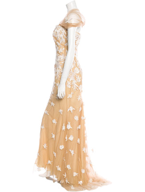 Beige Tulle Embellished Gown