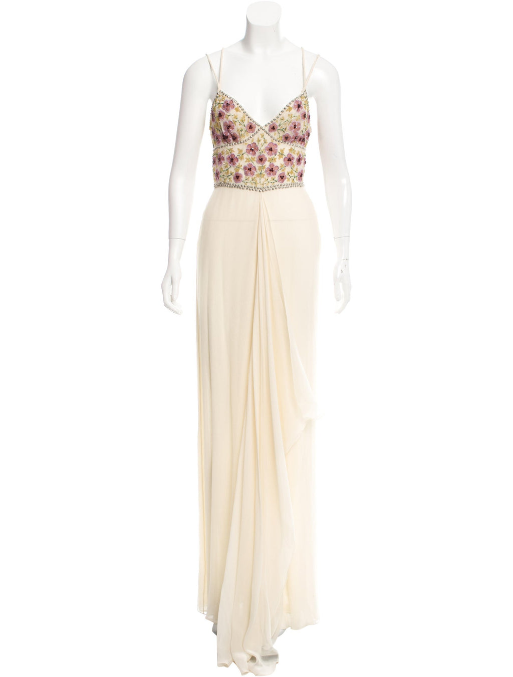 Embroidered Ivory Silk Gown