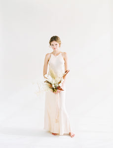 Nude Satin Bias Slip Dress