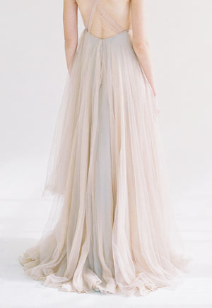 Nude Tulle Gown with Sheer Top