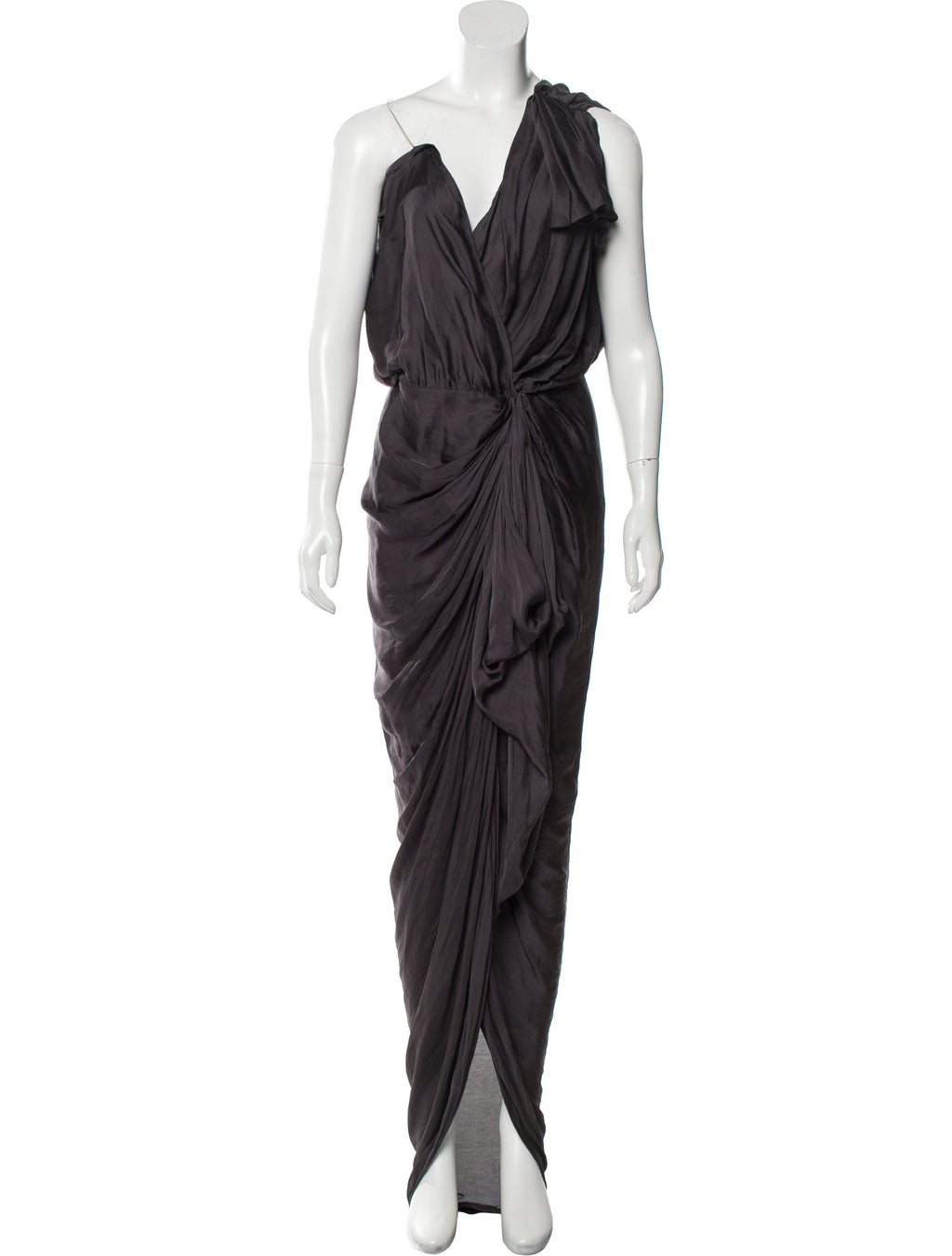 Black Onyx Silk Draped Gown