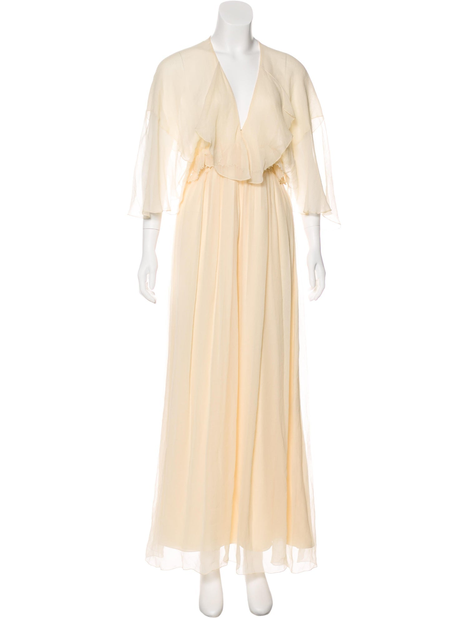 Cream Silk Flowing Gown