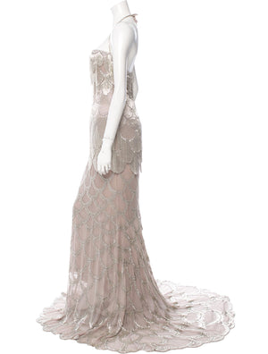 Mauve Silk Bead Gown
