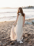 Ivory Silk Backless Halter Trapeze Gown