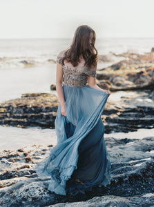 Dusty Blue Silk Embellished Gown