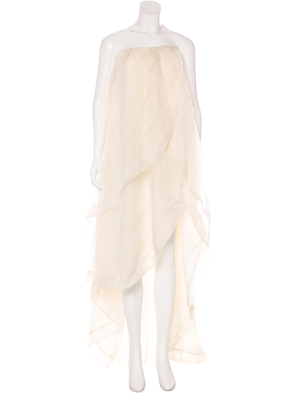 Cream Silk Organza Layered Gown