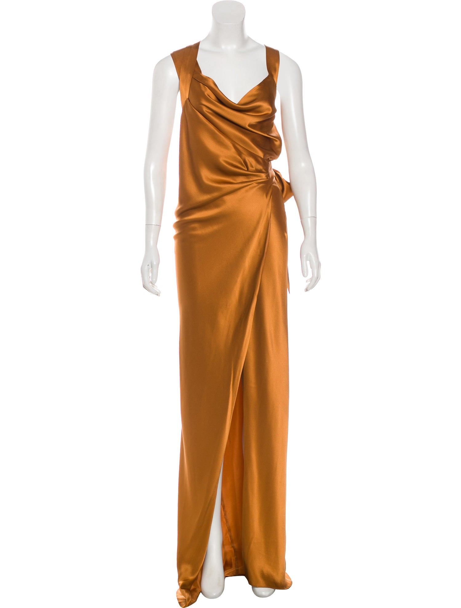 Saffron Silk Wrap Gown