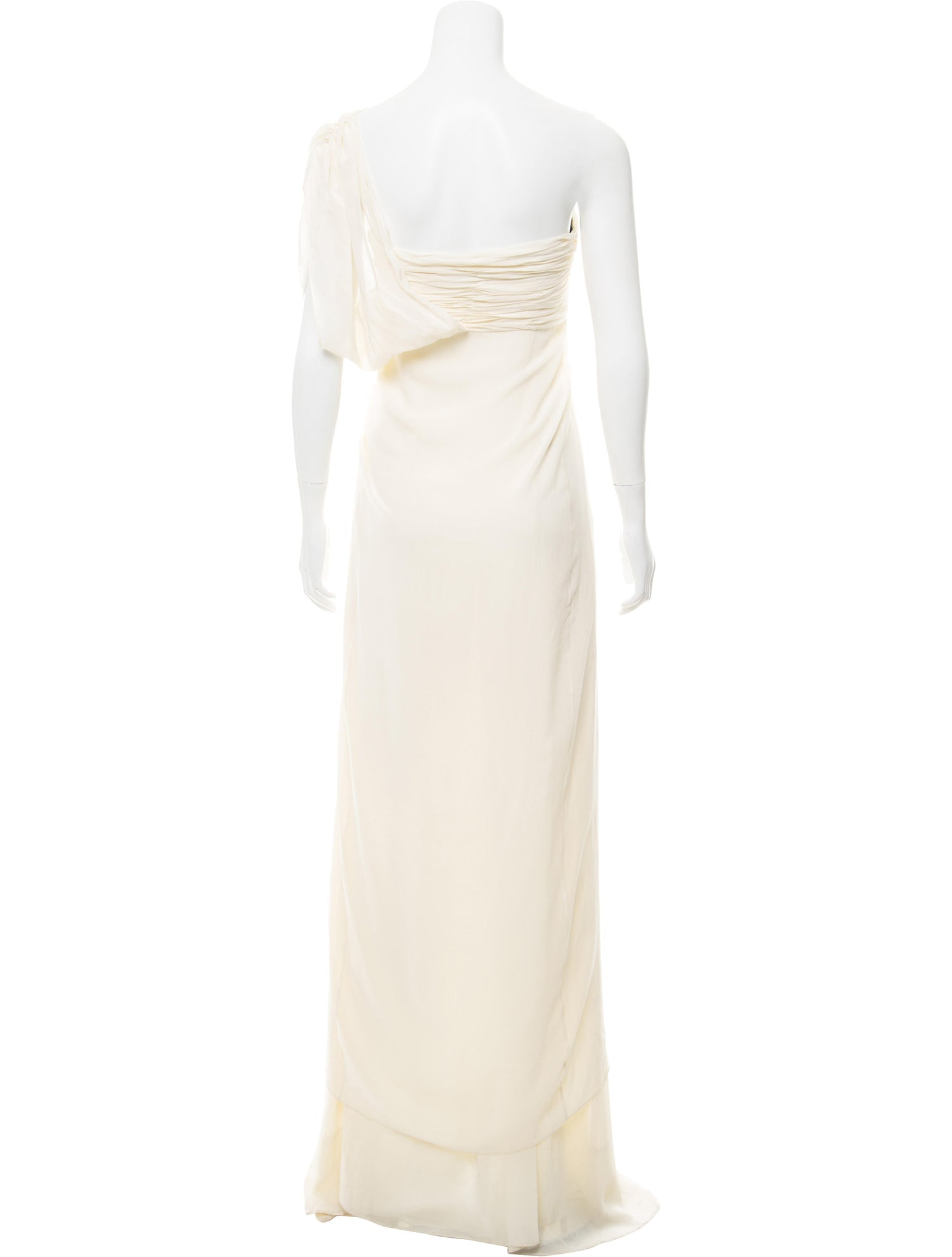 Ivory Silk One Shoulder Gown