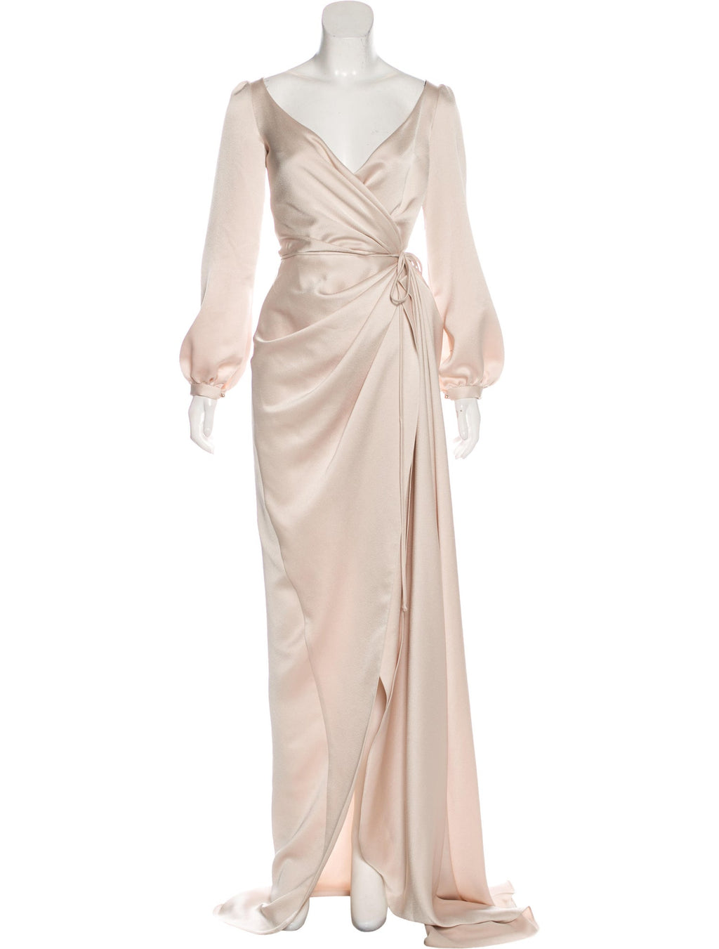 Beige Poet Sleeve Wrap Gown