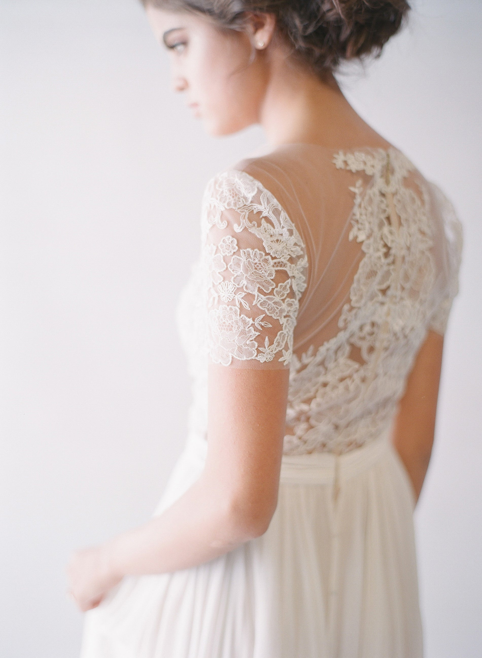 Lace Bodice Silk Cap Sleeve Gown