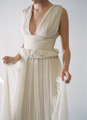 Ivory Silk Grecian Low-V Gown
