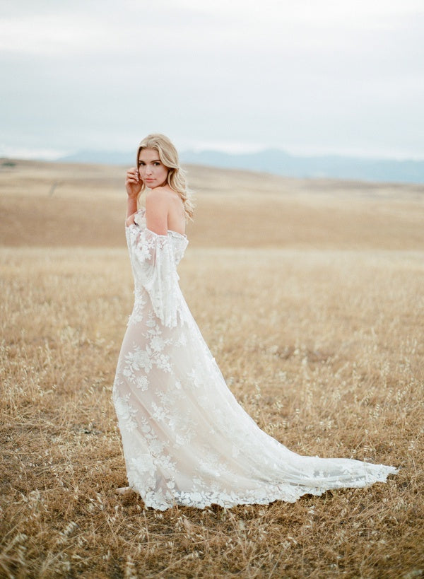 Embellished Off-the-Shoulder Ivory and Nude Gown