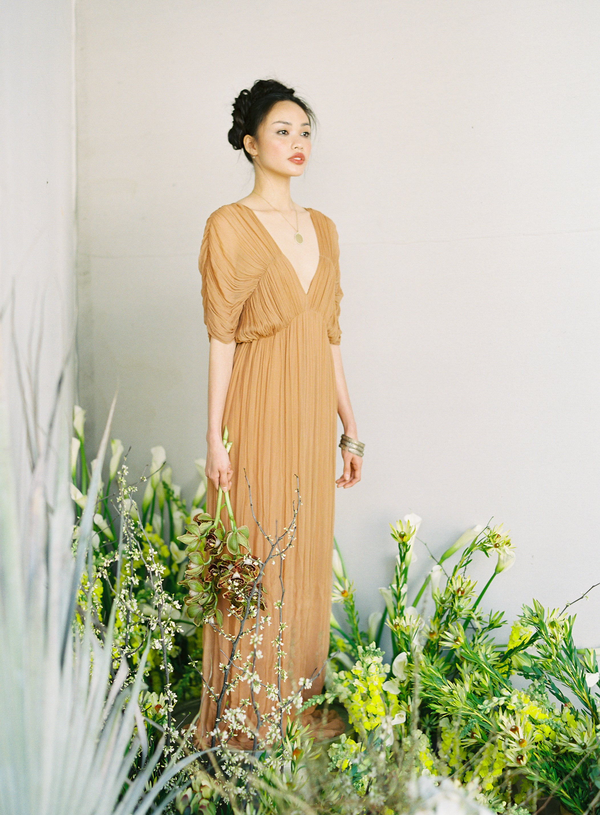 Caramel Silk Draped Gown