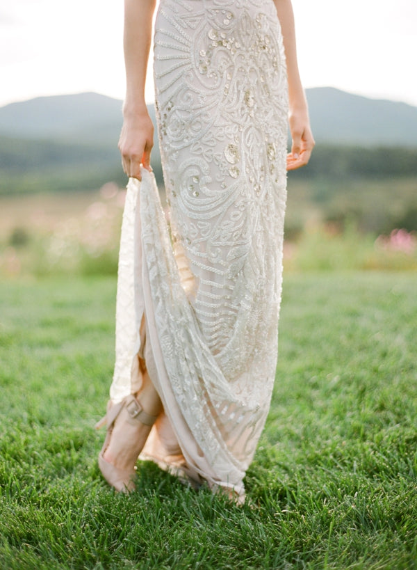 Ivory and Silver Embellished Gown