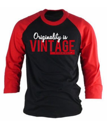 'Originality is Vintage!' Raglan Tee (Red/Black)