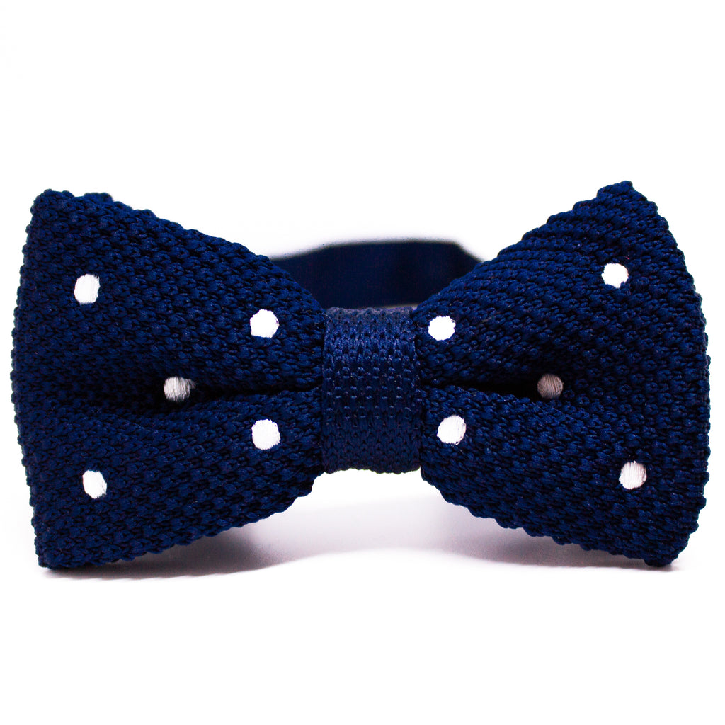 Blue Knit Bow Tie