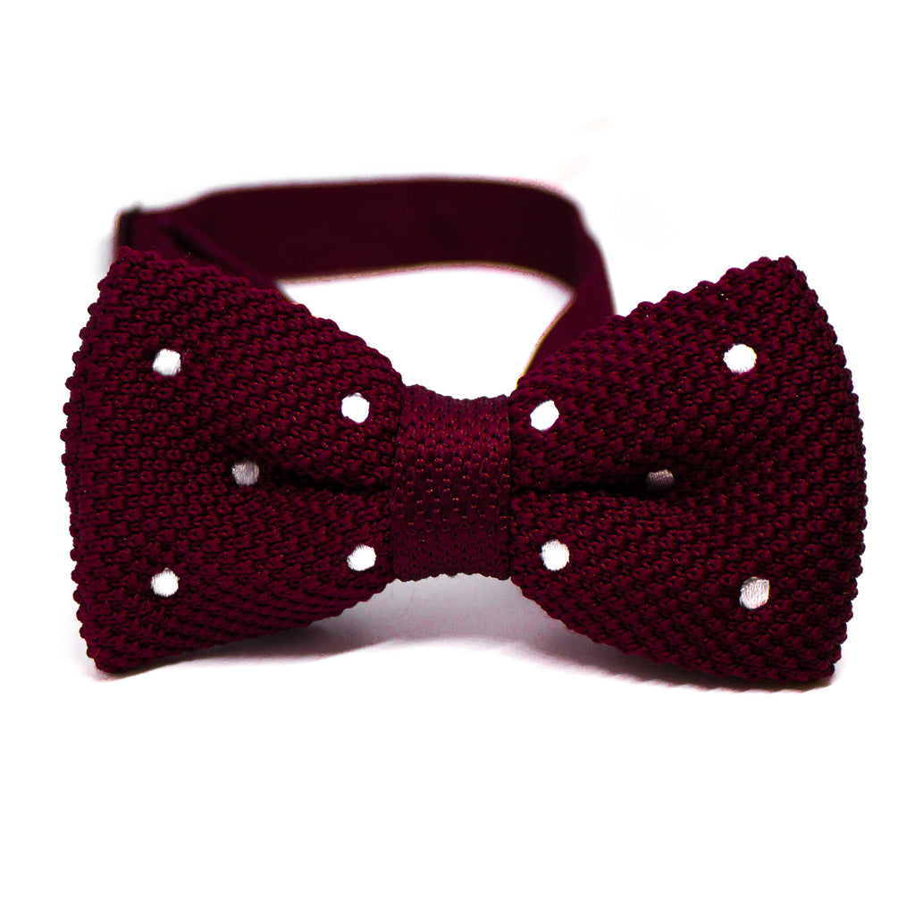 Burgundy Knit Bow Tie