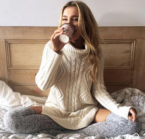 Long Cozy Knitted Turtleneck Sweater