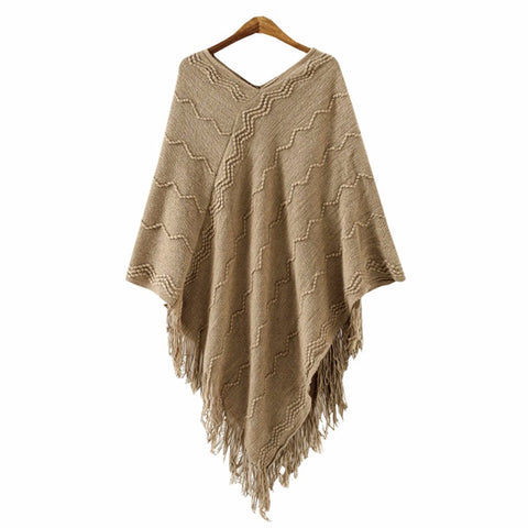 Knitted Poncho with Batwing Sleeves - BellaSmyle