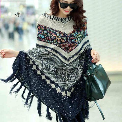 Knitted Wool Poncho with Batwing Sleeves - BellaSmyle