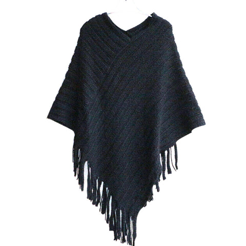 Striped Poncho with Fringes - BellaSmyle