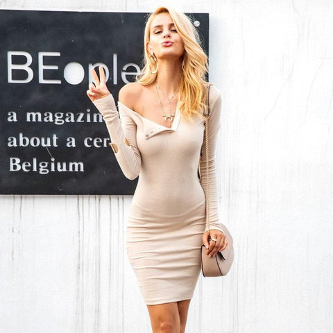 One Shoulder Bodycon Dress - BellaSmyle
