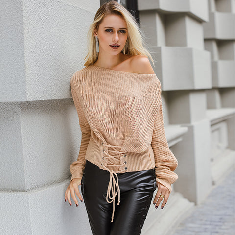 Sexy Lace Up Knitted Sweater